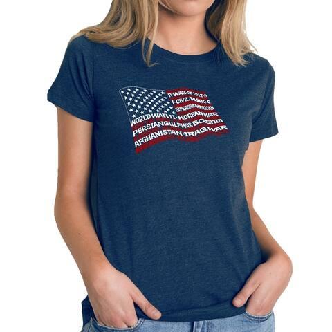 Women's Premium Blend Word Art T-shirt - American Wars Tribute Flag