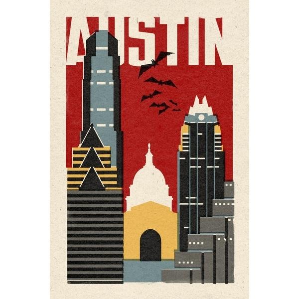 Austin, TX - Woodblock - LP Artwork (Acrylic Wall Clock) - acrylic wall clock