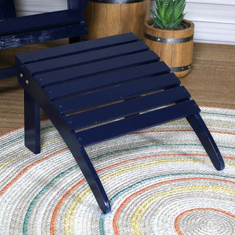 Sunnydaze Adirondack Ottoman Classic Wood Outdoor Footrest Furniture - Navy Blue