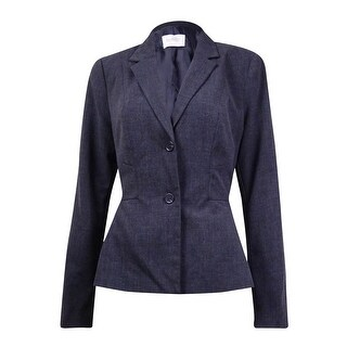Laundry by Shelli Segal Women's Solid Notched Lapel Peplum Blazer - Charcoal