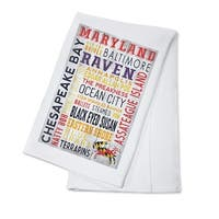 Maryland - Rustic Typography - LP Artwork (100% Cotton Towel Absorbent)