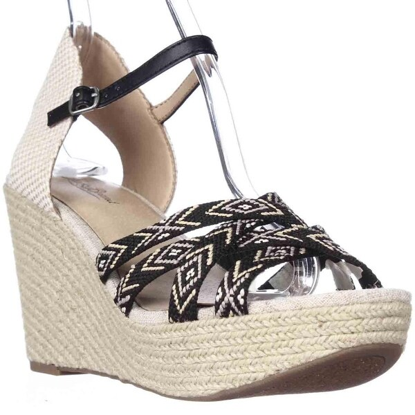 Lucky Brand Mahima Espadrille Wedge Ankle Strap Sandals, Black Multi/Friendship Bracelet