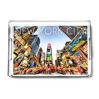 New York City, New York - Times Square - Lantern Press Photography (Acrylic Serving Tray)