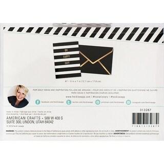 Heidi Swapp A7 Cards 4/Pkg-Oh Happy Day Black & White Stripe