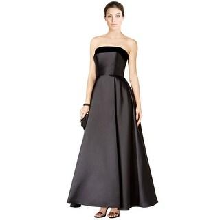 XSCAPE Strapless Velvet Trim Satin Ball Evening Gown Dress - 4