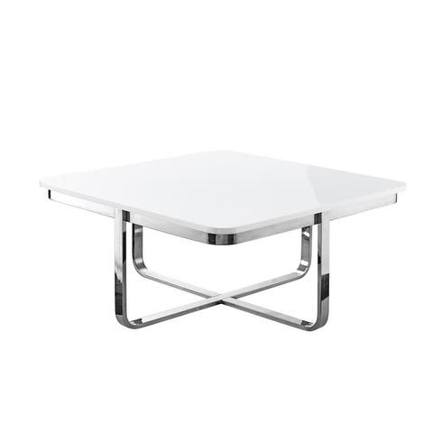 Aukai High Gloss Lacquer Finish Coffee Table Stainless Steel Base