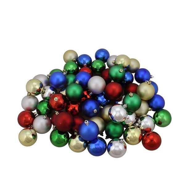 """60ct Multi-Color Shiny and Matte Shatterproof Christmas Ball Ornaments 2.5"""" (60mm)"""