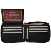 RFID Improving Lifestyles Mens Leather Wallet Bifold Zipper Black SUNRFID1306BK