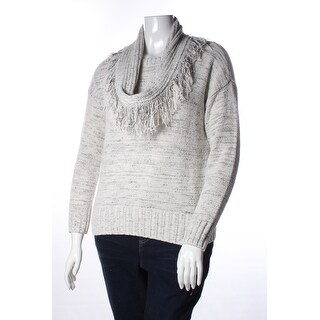 Womens White Long Sleeve Scoop Neck Wear To Work Sweater Size S
