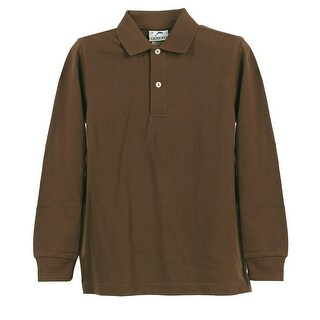 Boys Girls Brown Long Sleeve School Uniform Polo Shirt 8-16
