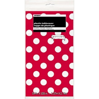 """Plastic Tablecover 54""""X108""""-Ruby Red Decorative Dots"""