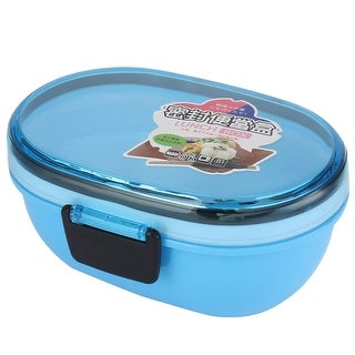 Unique Bargains Microwave Oval Shaped Double Layers Lunch Box Food Storage Container Blue