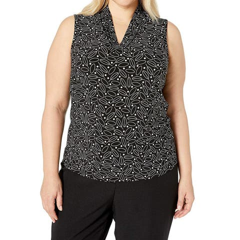 Anne Klein Womens Blouse Black Size 2X Plus V-Neck Pleated Printed