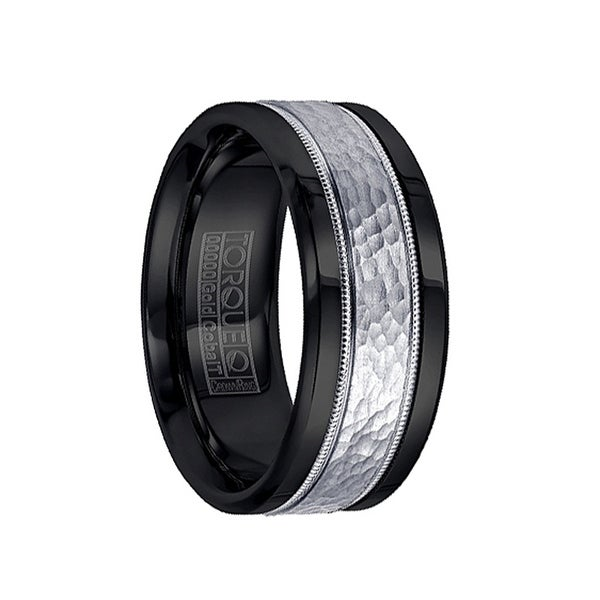 Black Cobalt Men's Wedding Ring with Hammered 14k White Gold Inlay by Crown Ring - 9mm