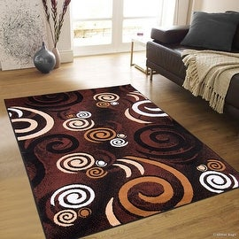 "Allstar Black Area Rug. Contemporary. Abstract. Traditional. Formal. Shapes. Spirals. Circles (5' 2"" x 7' 1"")"