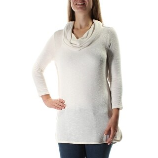 Womens Ivory 3/4 Sleeve Cowl Neck Casual Top Size S