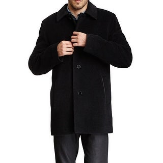 Cole Haan NEW Black Mens Size Small S Italian Wool Button-Down Overcoat