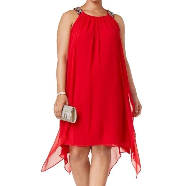 29883f48c23 Shop Xscape Red Womens Size 14W Plus Chiffon Embellished Shift Dress ...