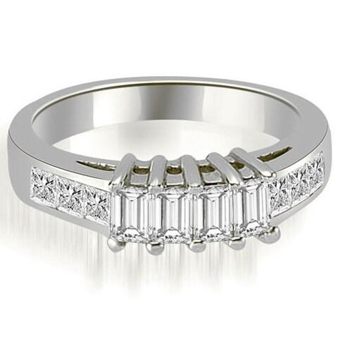 1.00 ct.tw Unique 14K White Gold Channel Princess and Emerald Cut Diamond Wedding Band HI, SI1-2