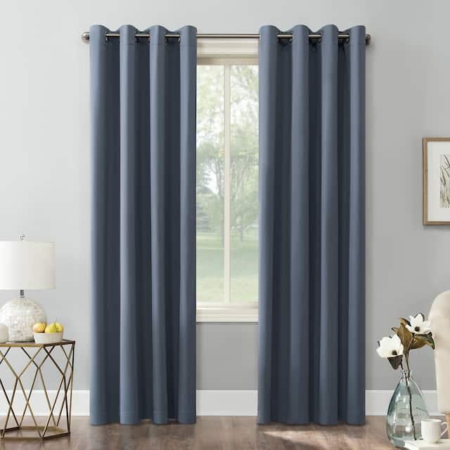 Sun Zero Hayden Energy Saving Blackout Grommet Curtain Panel, Single Panel - 54 x 95 - Denim Blue