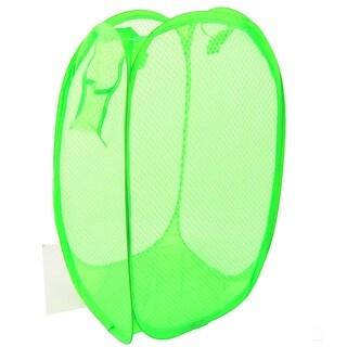 Home Foldable Pop Up Washing Clothes Storage Bag Box Mesh Laundry Basket Green