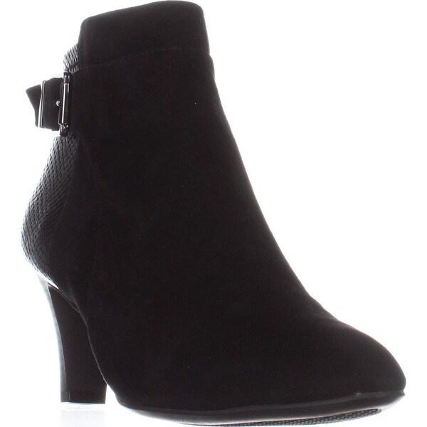 A35 Viollet Ankle Low-Heel Booties, Black Suede