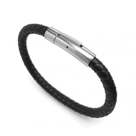 Loralyn Designs Mens Black Leather Bracelet Braided Stainless Steel Locking Clasp (7 - 9 Inch)