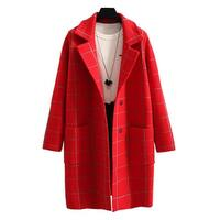 QZUnique Women's Plaid Lapel Open Front Sweater Coat Long Sleeves Cardigan Overcoat Outwear