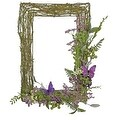 "21"" Decorative Purple and Green Mixed Berry and Butterfly Rectangular Artificial Wreath - Unlit - Thumbnail 0"
