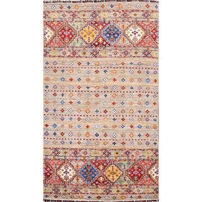 "Geometric Oriental Kazak Area Rug Wool Hand-knotted Foyer Size Carpet - 3'3"" x 5'3"""
