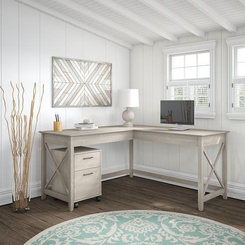 The Gray Barn Hatfield 60-inch L-shaped Desk with Mobile File Cabinet