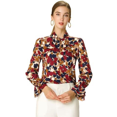 Women's Tie V Neck Blouse Long Trumpet Sleeve Floral Shirt