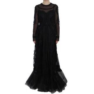 Dolce & Gabbana Black Netted Torero Full Length Maxi Dress - it42-m