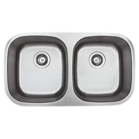 Wells Sinkware Craftsmen Series 33-inch 18-gauge Undermount 50-50 Double Bowl Stainless Steel Kitchen Sink - Sink Only