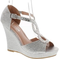 De Blossom Collection Womens Alina-56 Dressy Wedge Platform Wedge Sandals