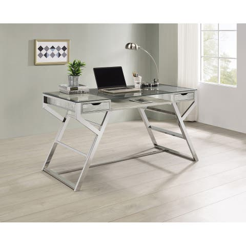 Emelle Grey Driftwood and Chrome 2-drawer Glass Top Writing Desk