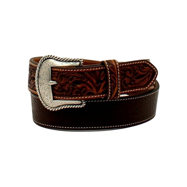 Ariat Western Belt Mens Round Concho Floral Tabs Embossed Tan