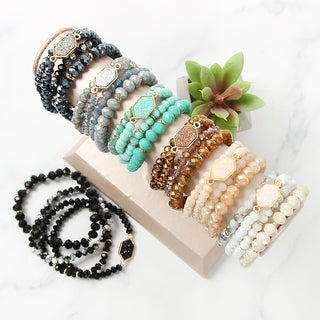 RIAH FASHION'S Druzy Hexagon Stone Crystal Bead Stackable Bracelet