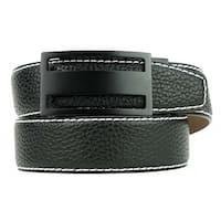 Nexbelt Classic Pebble Grain Pitch Black Leather Strap Dress Belt