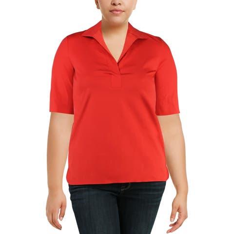 Lafayette 148 New York Womens Daley Blouse Short Sleeves Office Wear