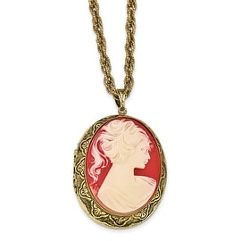 Goldtone Acrylic Cameo Necklace - 28in