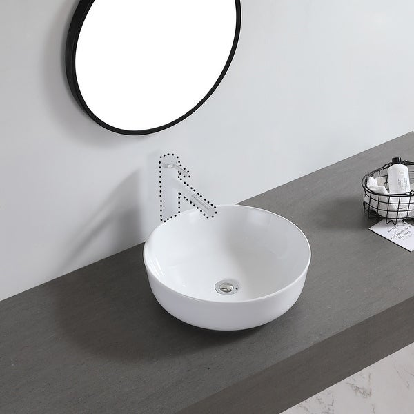 "Ceramic Basin Above Counter Basin Bowl Shape White - 7'6"" x 9'6"". Opens flyout."