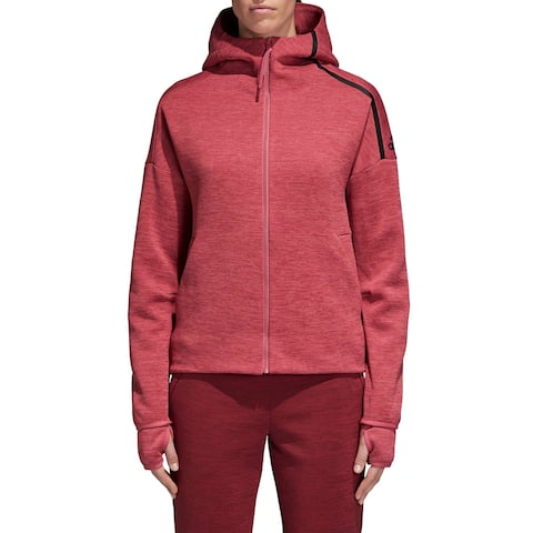 Adidas Women's Jacket Pink Size Medium M Fast-Release Zip Hoodie