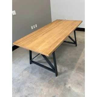 "2xhome Natural Light Brown Wood Modern Table Steel Frame Metal Dining Table 71"" Rectangle Gray Retro Vintage"