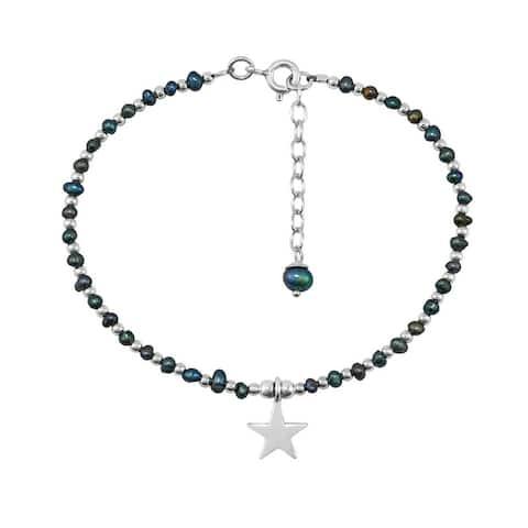 Handmade Enchanting Star Freshwater Black Pearl and Sterling Silver Medley Bracelet (Thailand)
