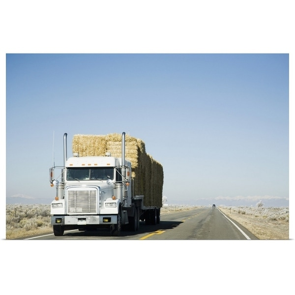 """USA, Colorado, Truck hauling hay on rural road"" Poster Print"