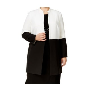 Kasper White Colorblocked Women's Plus Jacket Coat