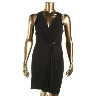 Michael Kors Womens Matte Jersey Faux-Wrap Cocktail Dress - XL