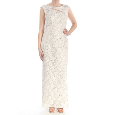 CONNECTED Womens Ivory Slitted Glitter Sequined Column Silhouette V Neck Full Length Prom Dress Size: 8