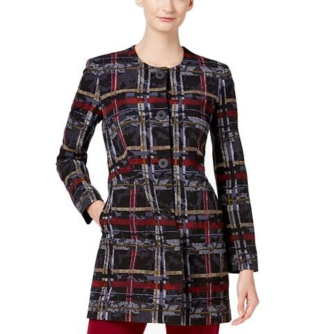 Nine West Black Women's Size 14 Plaid Print Button Up Jacket